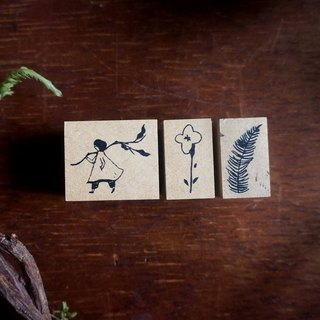 Girl / leaf / flower wood stamp package