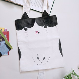 Hand-painted cat A4 tote bag / shoulder bag - Benz cat