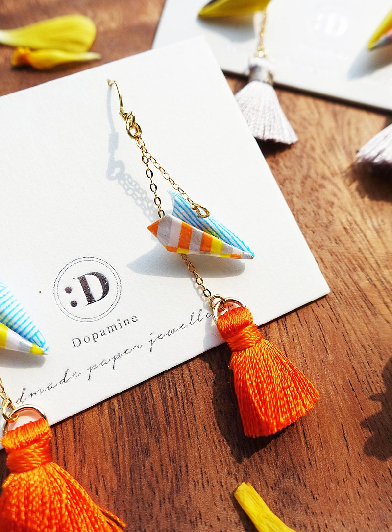 Origami Paper Aeroplane Tassel Earrings