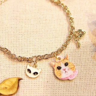 Gift selection preferred - pet pendant custom gold-plated bracelet - white cat models