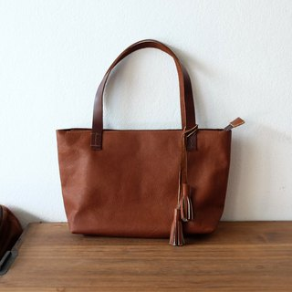 Mini Brown Zipper Leather Tote Bag / Tan Leather Handbag.