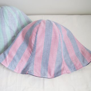 Purple and Blue Stripe - Handmade Bucket Hat | Double sided