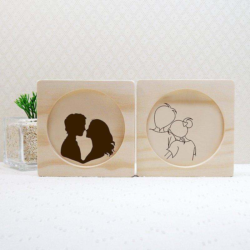 百年好合 真愛 珍愛 情人節 結婚 禮物 實木 杯墊 專屬 客製 名字