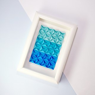 House Warming Gift Origami Blue Turquoise 3D Diamond White Framed Art Decoration