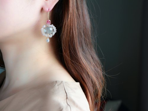14kgf- Pale color mandala pierced earrings