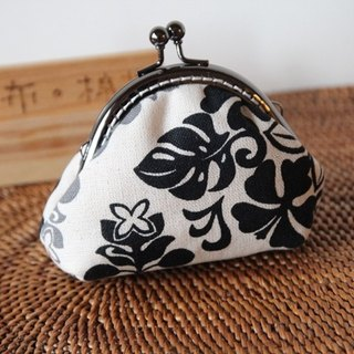 Cotton Fabric: Coin Purses, Cosmetic Bag, Black Flowers