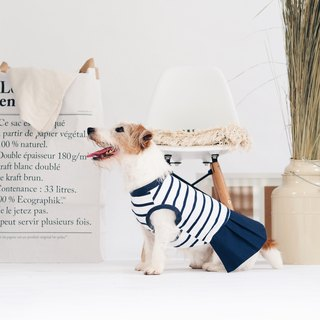 Navy Blue Striped with Pleated Skirt Top | For Dogs