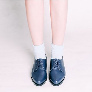 Do not squeeze the gentleman shoes! Navy blue - cream cream matte Derby shoes full leather MIT Taiwan handmade