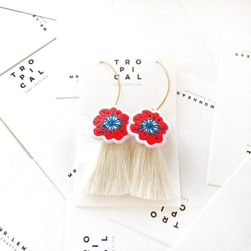 Red flower with white tassel Earrings