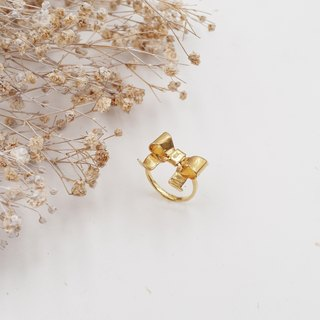 ✦ ✦ ✦ bow ✦ copper plating ✦ gold ✦ ring