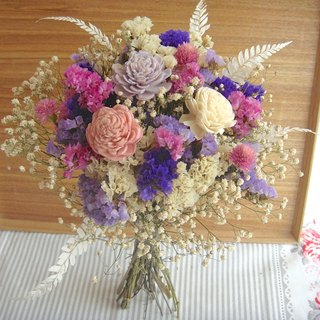 Romantic wing pink purple bridal bouquet dry bouquet eternal flower birthday gift