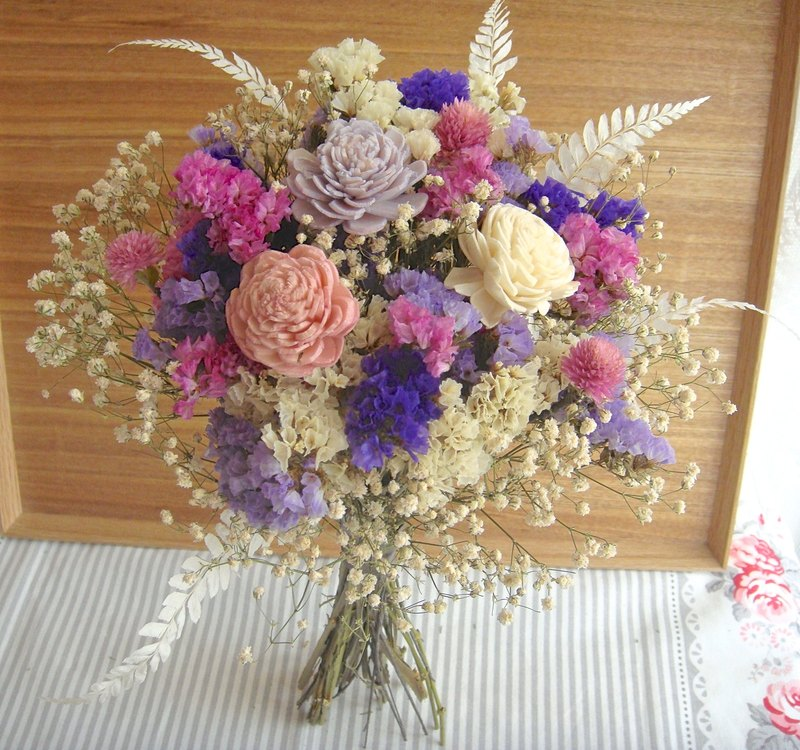 Romantic Wing Pink Purple Bridal Bouquet Dry Eternal Flower Birthday Gift
