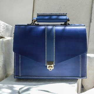 Not hit Bao blue vegetable tanned leather full leather small briefcase