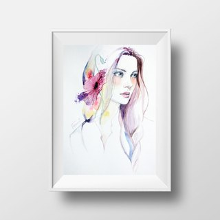 Nordic style hand painted pencil watercolor paintings NO.1 murals / home furnishings / interior design