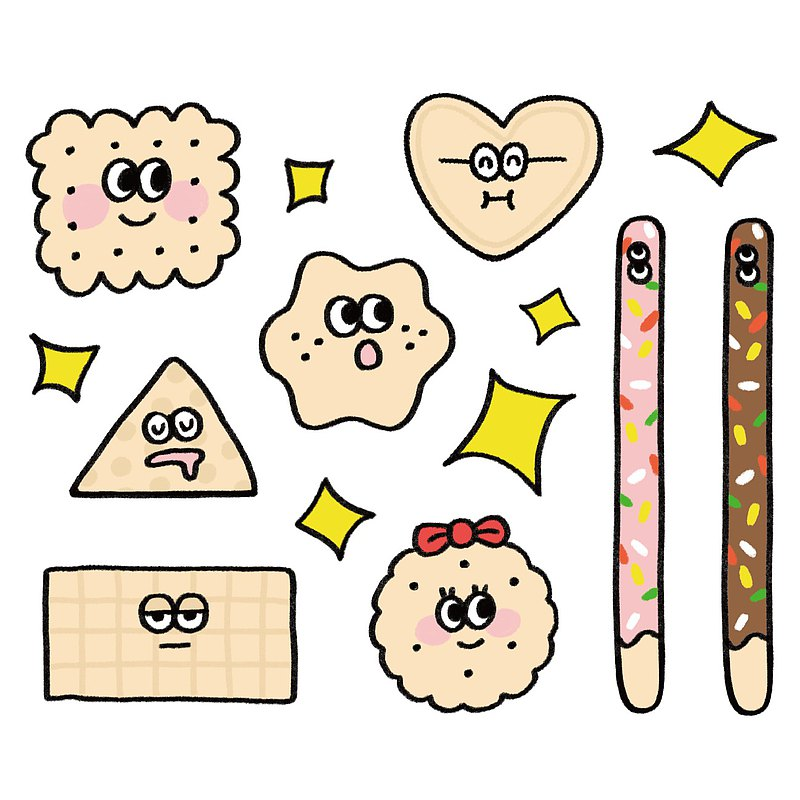 Biscuit Family-Transparent Waterproof Sticker Pack