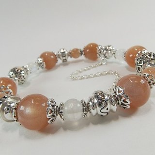 Different Moonlight - Premium Natural Orange Moonstone + Blue Moonstone Sterling Silver Bracelet