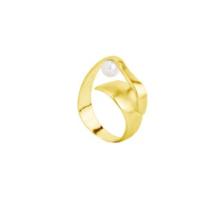 Golden Wave Pearl Ring Silver Spiral Ring