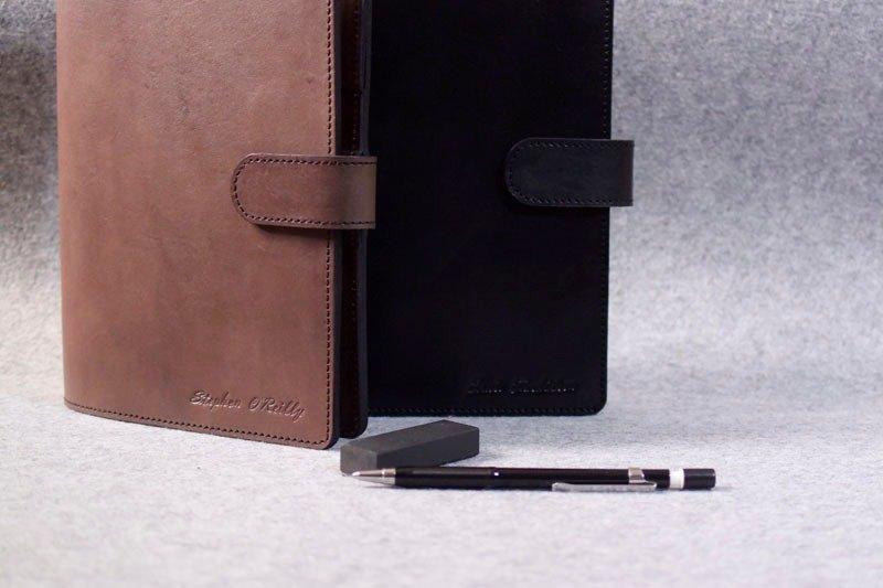 真皮活頁筆記本細版磁釦款 特製加層版 深木色皮革