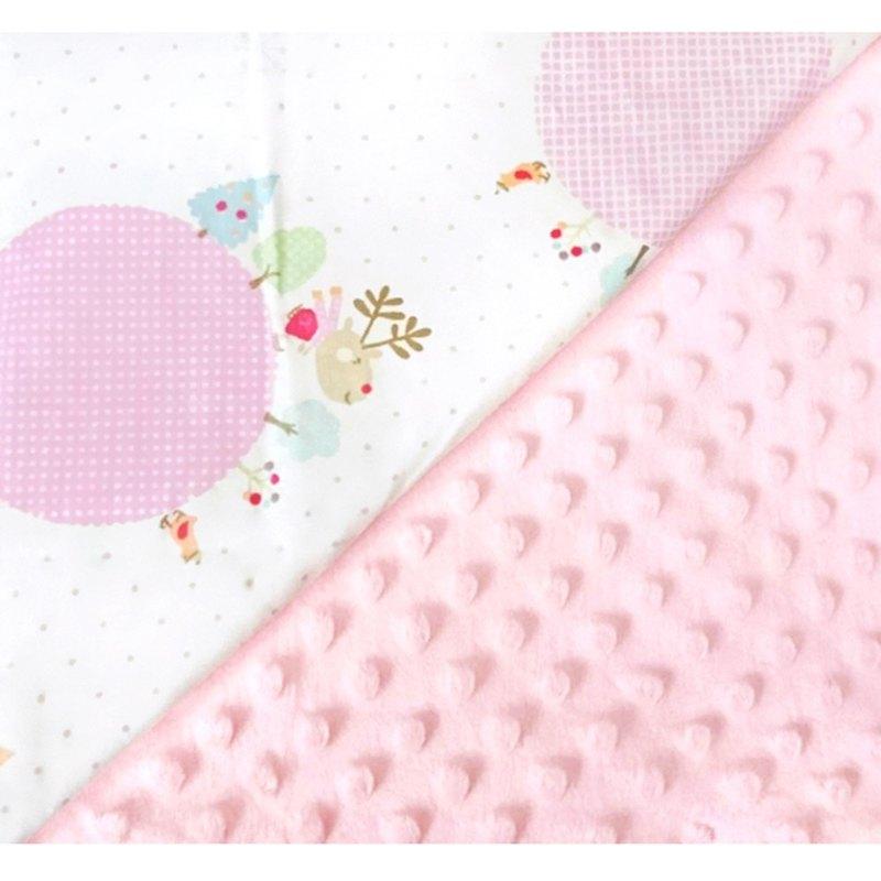 Minky多功能 點點顆粒 攜帶毯嬰兒毯冷氣毯被 粉色-聖誕節