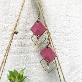 DUAL leather / pure copper geometric earrings - rose red