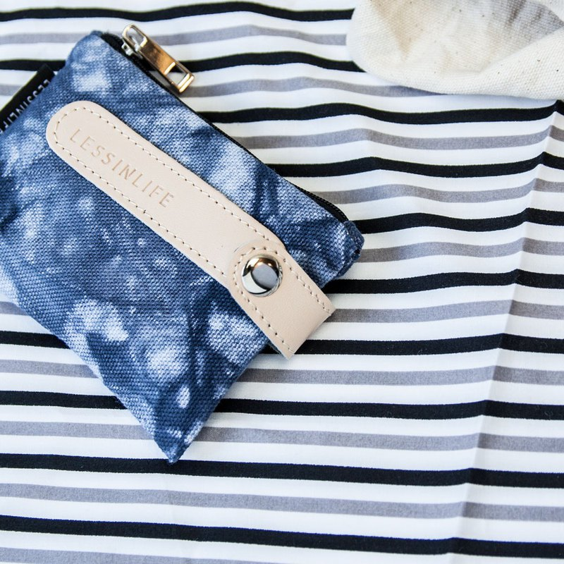 Simple blue dye sky 3 seconds key coin purse (07/20~08/20 main discount)