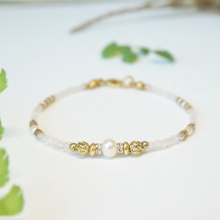 Gaia Series - Rose Quartz Brass Bracelet