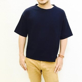 Aging blue leather patch attaching Indigo T-shirt loose T-shirt [M size]