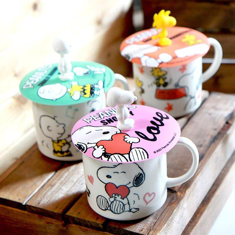 (防疫自煮)SNOOPY史努比-和樂系列馬克杯+杯蓋(愛心)