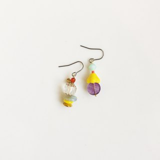 Early morning color glass beaded earrings