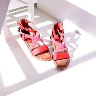 Daily small vintage! Red-Q bomb double leather zipper back sandals handmade leather