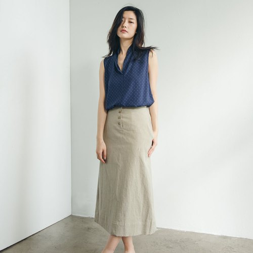Straight long skirt - apricot
