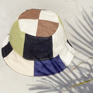 Tanabata gift limited a land forest wind splicing hand-woven cotton hat / fisherman hat / sun hat / patch cap / hand cap - national wind contrast color splicing handmade cap