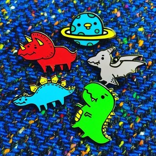 Cute dinosaur metal brooch - five comprehensive