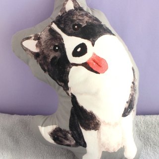 Border Collie Plush Pillow/ Dog print double sided cushion/animal cute toy