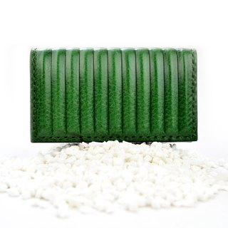 PIPILALA Leather Design Solid Leather Business Card Holder - Classic Straight (Forest Green)