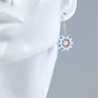 Pearl earrings, blue flower elegant jewelry, delicate, gift, 150-338