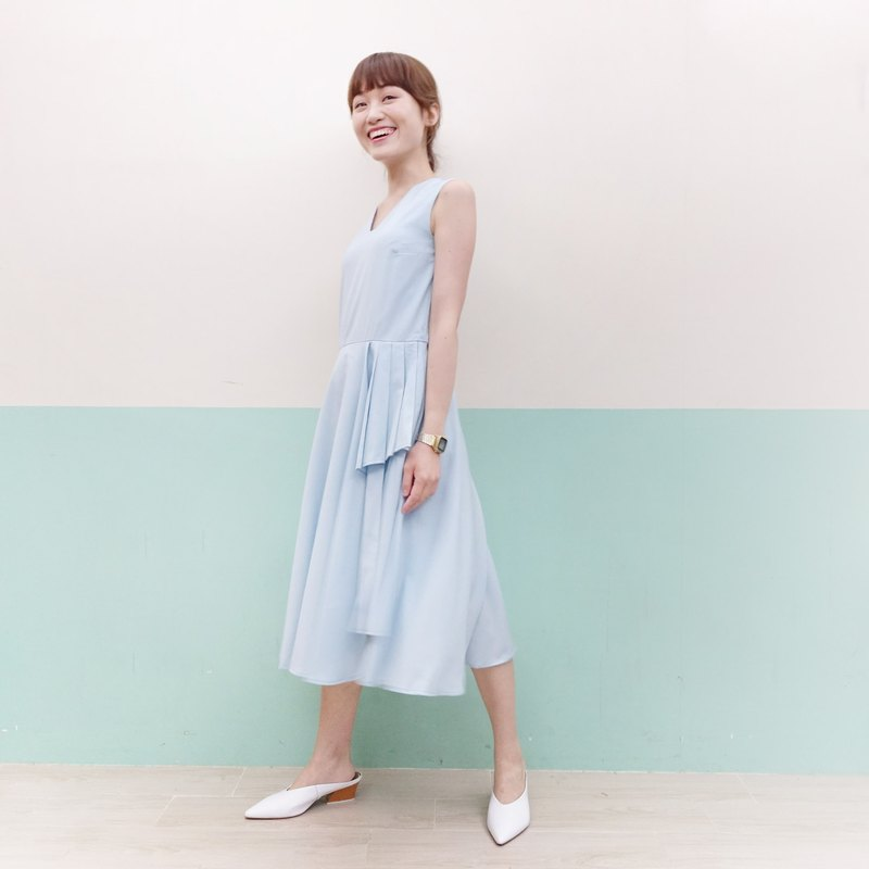 Self-made fold pleated dress