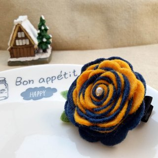 [Two-color flower felt hairpin pin] A green felt hairpin hairpin Wen Qing parenting