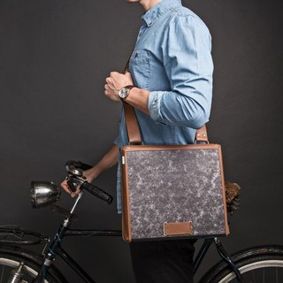 ad:acta Dienstweg (brown) upcycling binder bag - unique laptop briefcase