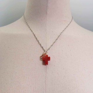Silver Double Cross Necklace Red Onyx plus Micro-Inlaid Rose Zircon Pendant