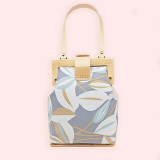 Leaf floating print gray wooden low mouth gold handbag gift travel