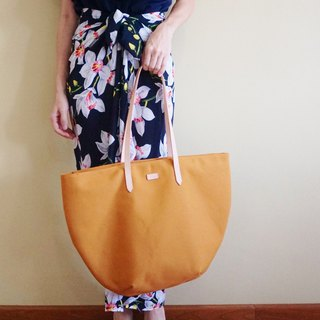 Mustard Yellow Beach Tote Bag with Leather Strap - Casual Weekend Tote