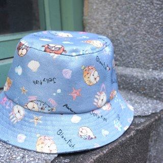 Fantasy fisherman hat - puffer fish fight - blue