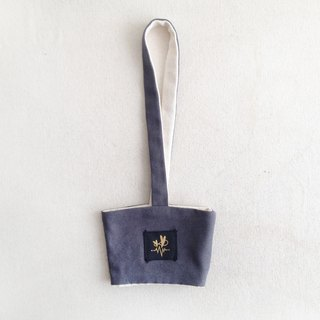Grey plain canvas minimalist beverage bag