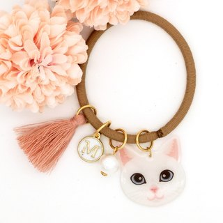 Meow handmade cat and cotton pearl hairband - white cat