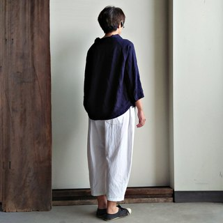 Irregular sleeved shirt linen dark blue