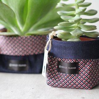 Succulent potted clothes - 3.5 inch style potted set - denim blue / red dot grid