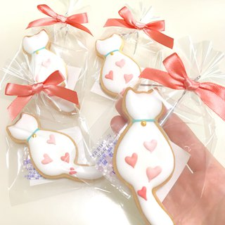 Semi-sweet, slightly white cat, icing sugar biscuits 10 pieces (wedding biscuits)