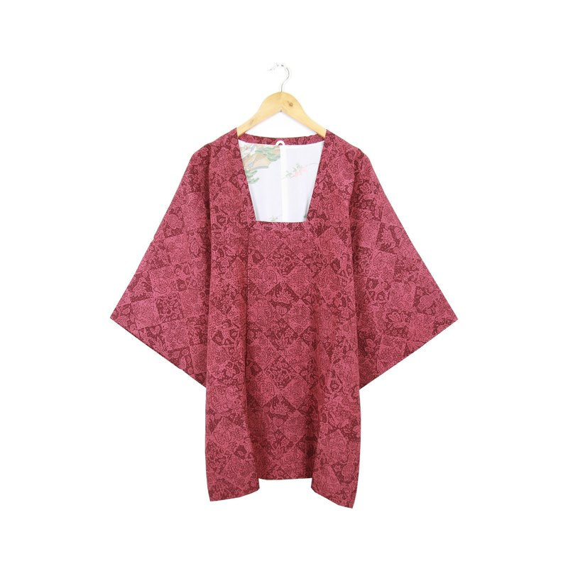Back to Green :: Japanese Camellia back bonus Sen Linge shaped pattern vintage kimono (KBI-18)