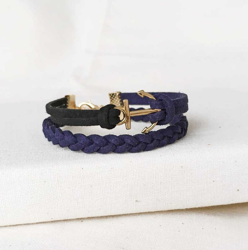 Handmade Double Braided Anchor Bracelets Rose Gold Series-dark blue limited